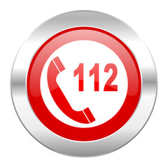 emergency call red circle chrome web icon isolated