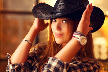 Young woman cowboy