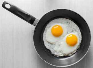Fond de hotte en verre imprimé Ouf Two scrambled eggs in black frying pan on white wooden table