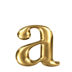 Golden letter a lowercase high quality 3d render isolated