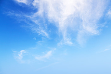 Natural bright blue cloudy sky background texture