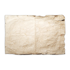 Sheet of old yellow crumpled paper isolated on white