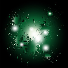 Colored splashes in abstract shape, isolated on dark green