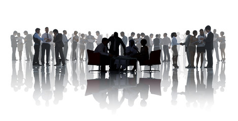 Business People Discussing In A White Background