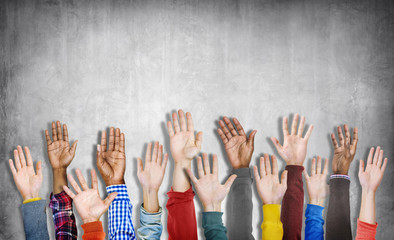 Diverse Group of Hands Raised