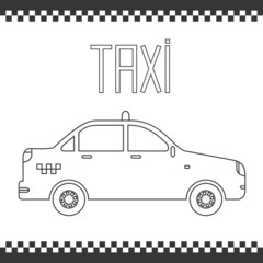 Vector graphic linear taxi car. Illustration.