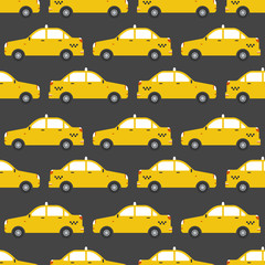 Seamless pattern of yellow taxi car.