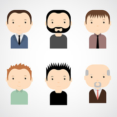 Set of colorful male faces icons. Trendy flat style. Funny