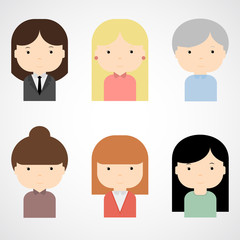 Set of colorful female faces icons. Trendy flat style. Funny