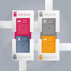 Infographics background with rectangular elements - four steps