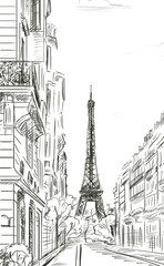 Fotobehang Illustratie Parijs Street in autumn Paris. Eiffel tower -sketch illustration