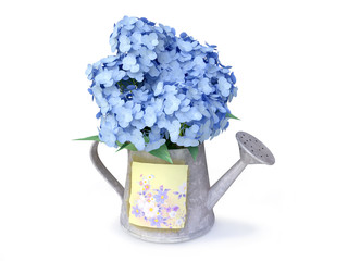3D Blue Hydrangeas in a Watering Can