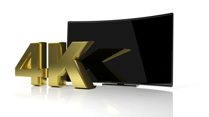 Golden 4K symbol and black curved tv screen isolated