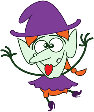 Cute Halloween witch making funny faces