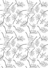 maple leaves black sketches seamless background