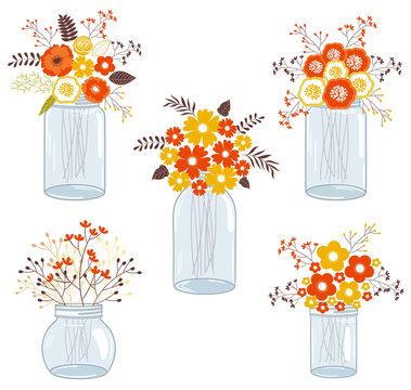 Fall Flowers in Mason Jars