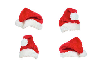 Christmas hats isolated on a white background.