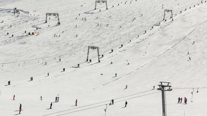 Rope tow systems of Kitzsteinhorn ski region in Austria
