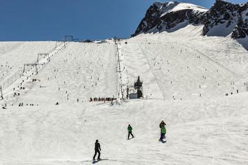 Snowboard and ski park at Kitzsteinhorn ski resort, Austria