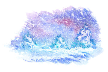 Watercolor paintings of winter landscapes. Vector illustration