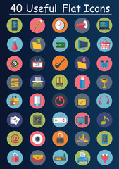 40 Useful flat icons,Web and business icons,clean vector