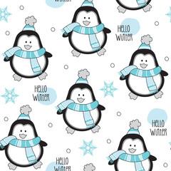 hello winter penguin pattern vector illustration