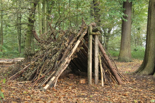A Forest Shelter Made From All Natural Materials.