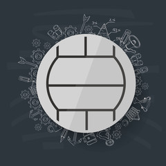 Volleyball concept design on blackboard background,clean vector