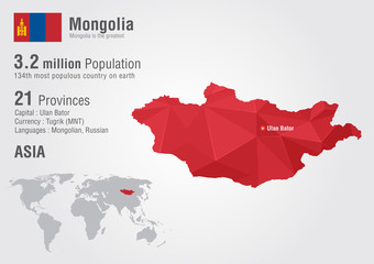 Wall Mural - Mongolia world map with a pixel diamond texture.