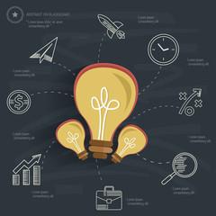 Ideas concept on blackboard background,clean vector