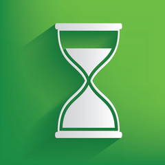 Hourglass symbol on green background,clean vector