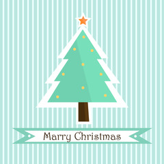 Pretty green Christmas tree  withstriped background