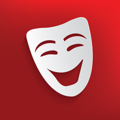 Smile mask design on red background,clean vector
