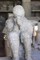 Plaster Cast of Seated Roman Men - Pompeii