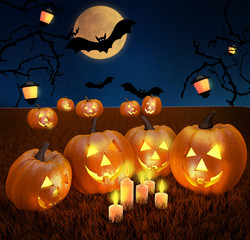 Halloween background scene with full moon, pumpkins and bats