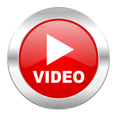 video red circle chrome web icon isolated