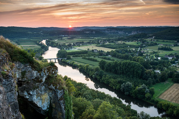 The Dordogne river, view from Domme at sunset, Dordogne, France,