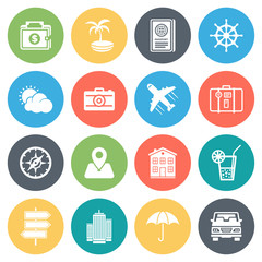 Travel, holiday round vector icons collection