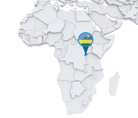 Rwanda on a map of Africa