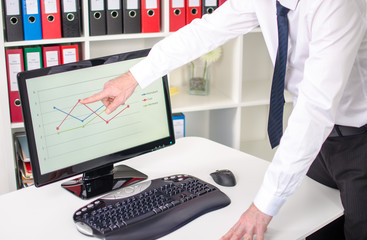 Businessman showing a graph on the screen