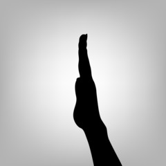 Silhouette woman hand. Letter I