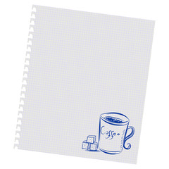 Hand drawing a cup of coffee and sugar on a sheet in the box