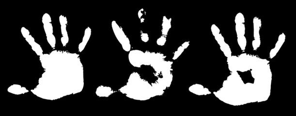 Detail imprint of hand, vector illustration on white background