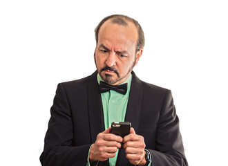 puzzled confused business man looking at smartphone