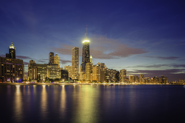 Chicago Downtown skyline at dusk
