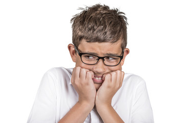 Headshot anxious stressed boy with glasses on white background