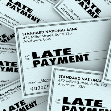 Late Payment Words Overdue Check Paying Bills Pile