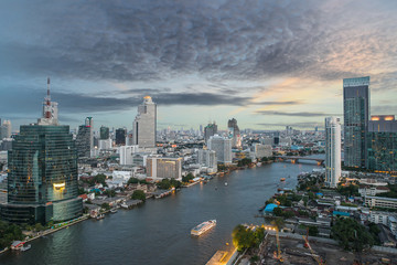 Bangkok City at night time, Hotel and resident area with cruise