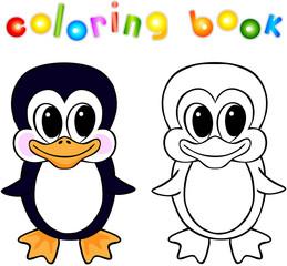 Funny cartoon penguin coloring book