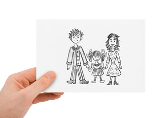 Hand with drawing happy family